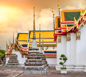 Wat Pho Temple in Bangkok, Thailand. Wat Pho Temple at sunset, in Bangkok, Thailand. Wat Pho known also as the Temple of the Reclining Buddha Stock Images