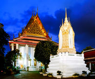 Wat Pho Temple in night, Bangkok Thailand. Wat Pho known also as the Temple of the Reclining Buddha Stock Photo