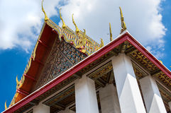 Wat Pho temple roof. The roof and deep blue sky in Bangkok, Wat Pho temple Royalty Free Stock Photo