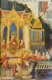 Wat Pho väggmålning Royaltyfria Bilder