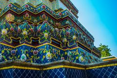 Wat Pho or Wat Phra Chetuphon,the Temple of the Reclining Buddha in Bangkok of Thailand.A fragment of decoration with flowers Royalty Free Stock Photos