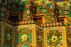 Wat Pho or Wat Phra Chetuphon,the Temple of the Reclining Buddha in Bangkok of Thailand.A fragment of decoration with flowers Royalty Free Stock Photography