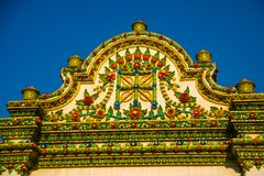 Wat Pho or Wat Phra Chetuphon,the Temple of the Reclining Buddha in Bangkok of Thailand.A fragment of decoration with flowers Stock Images