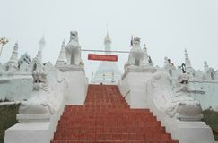 Wat Phra土井孔Mu寺庙,夜丰颂,泰国 免版税图库摄影