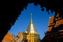 Wat Phra土井素贴是清迈,泰国的旅游胜地 聚会所 图库摄影