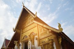 Wat Phra辛哈寺庙在清莱,泰国 免版税库存照片