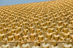 Wat Phra Dhammakaya. Bangkok, Thailand. Million golden Buddha figurine in Wat Phra Dhammakaya. Buddhist temple in Bangkok, Thailand Stock Photos