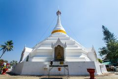 Wat Phra That Doi Kong Mu. White temple on a mountain top at Mae Hong Son northern of. Maehongson, Thailand. - February 22, 2017 : Wat Phra That Doi Kong Mu Royalty Free Stock Photo