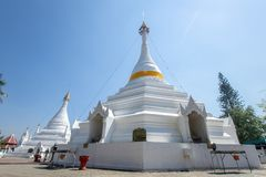 Wat Phra That Doi Kong Mu. White temple on a mountain top at Mae Hong Son northern of. Maehongson, Thailand. - February 22, 2017 : Wat Phra That Doi Kong Mu Royalty Free Stock Images