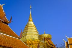 Wat Phra That Doi Suthep. Beautiful, gold-plated central pagoda and surrounding rooftops at the Wat Phra That Doi Suthep Buddhist temple in Chiang Mai, Thailand Stock Image