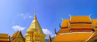 Wat Phra That Doi Suthep. Beautiful, gold-plated central pagoda and surrounding rooftops at the Wat Phra That Doi Suthep Buddhist temple in Chiang Mai, Thailand Stock Photo