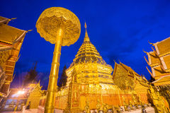 Wat Phra That Doi Suthep in night time. Stock Photo