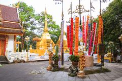 Wat Phra That Doi Tung temple with public domain has two golden pagodas or stupas containing Buddha`s relic, considered as a treas. Ure of Buddhism, Mae Sai stock image