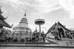 Wat Phra That Hariphunchai in bianco e nero immagini stock
