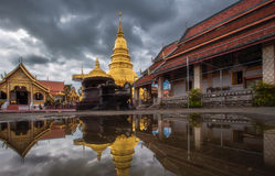 Wat phra that hariphunchai golden pagoda temple at lamphun thailand Stock Photography