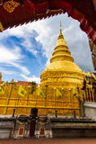 Wat Phra That Hariphunchai. Pagoda sky hariphunchai blue traditional ancient temple golden destinations buddhism province Stock Photos