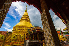 Wat Phra That Hariphunchai. Pagoda sky hariphunchai blue traditional ancient temple golden destinations buddhism province Royalty Free Stock Photos