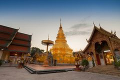Wat phra that hariphunchai pagoda temple important religious traveling destination in lumphun province northern of thailand.  stock photo