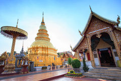 Wat phra that hariphunchai pagoda temple Stock Images