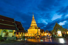 Wat Phra That Hariphunchai in twilight time Royalty Free Stock Image