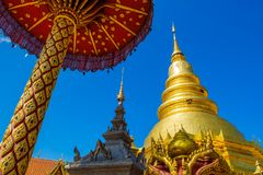 Wat Phra That Haripunchai temple in Thailand stock photography