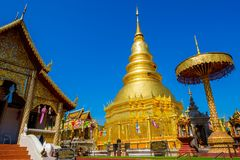 Wat Phra That Haripunchai temple in Thailand royalty free stock photo
