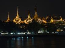 Wat Phra Kaeo with Chao Phraya River. At night Royalty Free Stock Photo