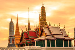 Wat Phra Kaeo, Thailand. Wat Phra Kaew in golden light in the evening royalty free stock images