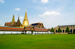 Wat Phra Kaew. The grand palace with the grass field, Bangkok Royalty Free Stock Photography