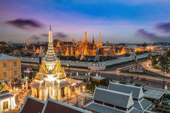 Wat Phra Kaew. The beauty of the Emerald Buddha Temple at twilight. And while the gold of the temple catching the light. This is an important buddhist temple of Royalty Free Stock Image
