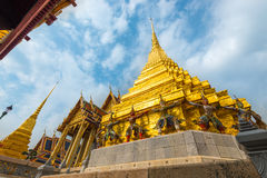 Wat Phra Kaew with blue sky, Temple of the Emerald Buddha, Bangkok, Thailand. Royalty Free Stock Photography