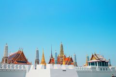 Wat Phra Kaew complex view of the roof top and the complex`s wall Royalty Free Stock Image