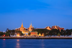 Wat Phra Kaew and Grand Palace alongside Chao Phraya river in Bangkok, Thailand. Both are Thailand property anyone can take photos and use royalty free stock image