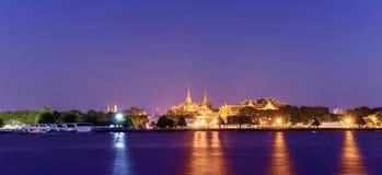 Wat Phra Kaew and Grand Palace alongside Chao Phraya river in Bangkok Royalty Free Stock Photos