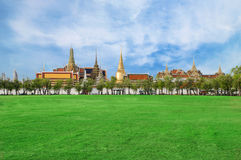 Wat phra kaew, Grand palace, Bangkok, Thailand (view from new gr Royalty Free Stock Images