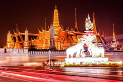 Wat Phra Kaew. One of the best temple inside Bangkok in Thailand. the panoramic view of the city nighttime of Bangkok Stock Photos