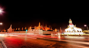 Wat Phra Kaew. One of the best temple inside Bangkok in Thailand. the panoramic view of the city nighttime of Bangkok Royalty Free Stock Photo