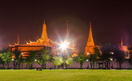 Wat Phra Kaew. One of the best temple inside Bangkok in Thailand. the panoramic view of the city nighttime of Bangkok Stock Images