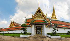 Wat Phra Kaew. Panorama of Wat Phra Kaew - Temple of the Emerald Buddha, Bangkok, Thailand Royalty Free Stock Image