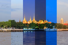 Wat phra kaew in sunset time Stock Images