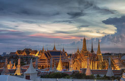 Wat Phra Kaew. Temple of the Emerald Buddha,Grand palace at twilight in Bangkok, Thailand stock images
