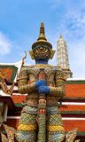 Wat Phra Kaew or Temple of Emerald Buddha, Guardian statues and Grand palace located within the grounds of the Grand Palace in Ban stock photography