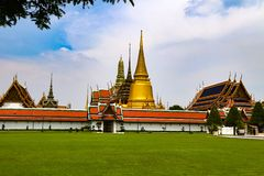 Wat Phra Kaew or Temple of Emerald Buddha, Guardian statues and Grand palace located within the grounds of the Grand Palace in Ban stock images