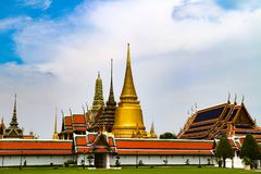 Wat Phra Kaew or Temple of Emerald Buddha, Guardian statues and Grand palace located within the grounds of the Grand Palace in Ban royalty free stock photo