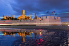 Wat Phra Kaew, Temple of the Emerald Buddha with Reflection, Bangkok, Thailand.  Royalty Free Stock Images
