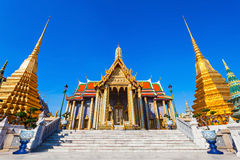 Wat Phra Kaew. (Temple of the Emerald Buddha) is regarded as the most sacred Buddhist temple in Thailand royalty free stock photo