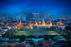 Wat Phra Kaew. Tilt Shift Effect, Wat Phra Kaew, Temple of the Emerald Buddha, Grand palace at twilight, Bangkok Thailand stock photo