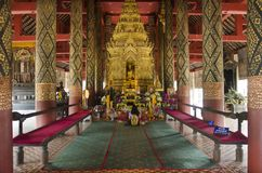 Wat Phra That Lampang Luang in Lampang, Thailand. Wat Phra That Lampang Luang for thai people and foreigner travelers respect praying and visit chedi with relics royalty free stock image