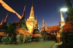 Wat Phra Mahathat Woramahawihan. The Phra Borommathat Chedi in Wat Phra Mahathat Woramahawihan is the main Buddhist temple of Nakhon Si Thammarat Province, the Stock Photo