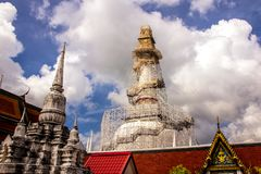 Wat Phra Mahathat Woramahawihan, the 8 walking Buddhas on top of. The Stupa Royalty Free Stock Photos